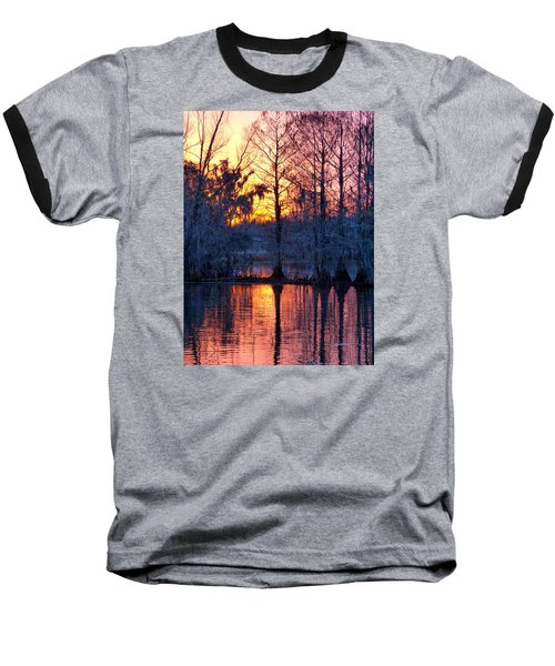 Cypress Sunrise Baseball T-Shirt by Kimo Fernandez