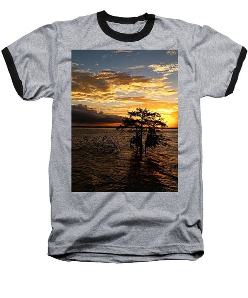 Cypress Sunset Baseball T-Shirt by Judy Vincent