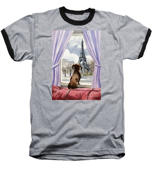 Dachshund In Paris Baseball T-Shirt