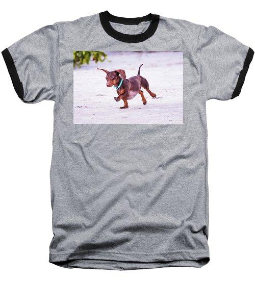 Dachshund On Beach Baseball T-Shirt