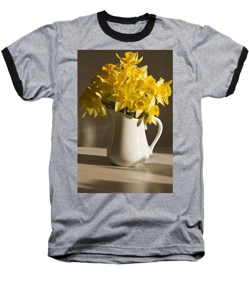 Daffodil Filled Jug Baseball T-Shirt by Sandra Foster