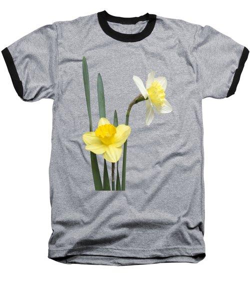 Baseball T-Shirt featuring the photograph Daffodil Pair - Transparent by Nikolyn McDonald