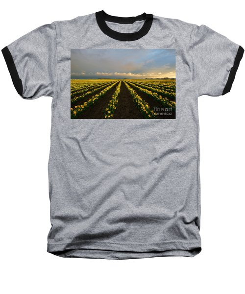 Baseball T-Shirt featuring the photograph Daffodil Storm by Mike Dawson