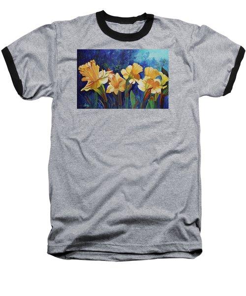 Daffodils Baseball T-Shirt by Alika Kumar