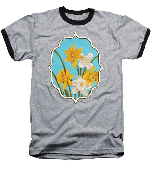 Daffodils Baseball T-Shirt by Anastasiya Malakhova