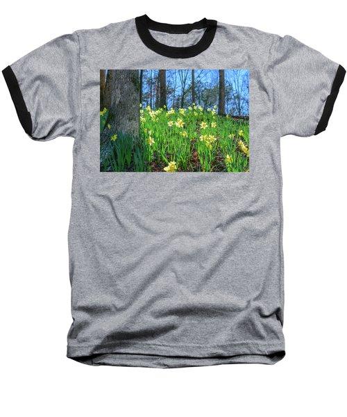 Daffodils On Hillside 2 Baseball T-Shirt