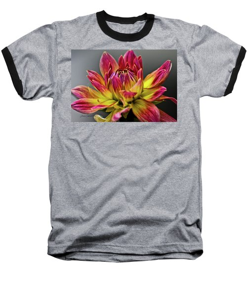 Dahlia Flame Baseball T-Shirt by Joann Copeland-Paul