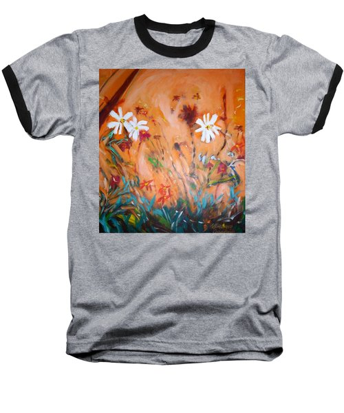 Baseball T-Shirt featuring the painting Daisies Along The Fence by Winsome Gunning