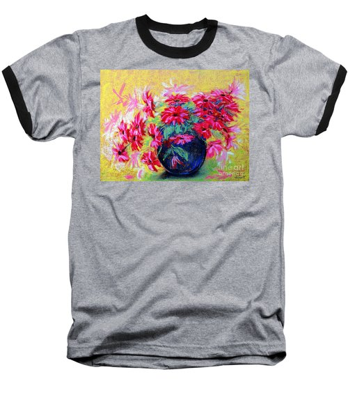Daisies And Blue Vase Baseball T-Shirt