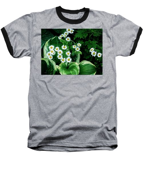 Daisies And Hosta In Colour Baseball T-Shirt