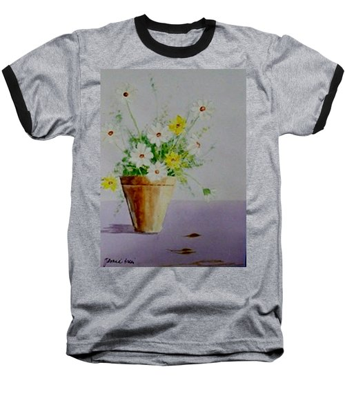 Daisies In Pot Baseball T-Shirt by Jamie Frier