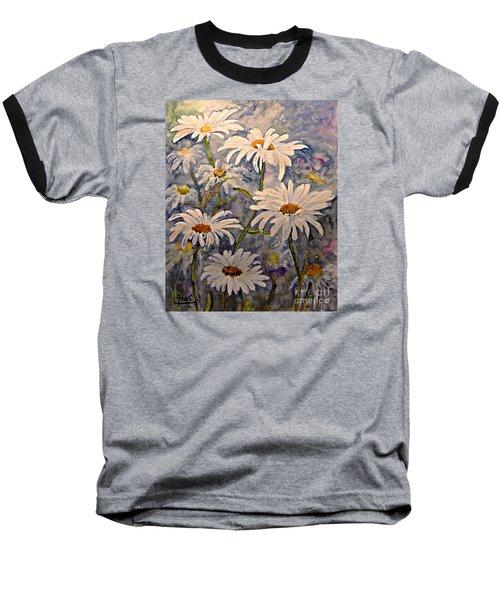 Daisies Watercolor Baseball T-Shirt by AmaS Art