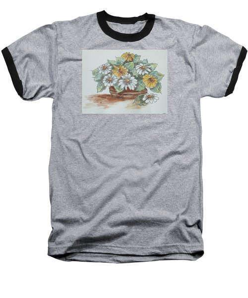 Baseball T-Shirt featuring the painting Daisy Craze by Sharyn Winters