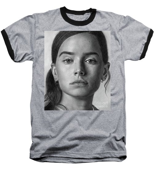 Daisy Ridley Pencil Drawing Portrait Baseball T-Shirt