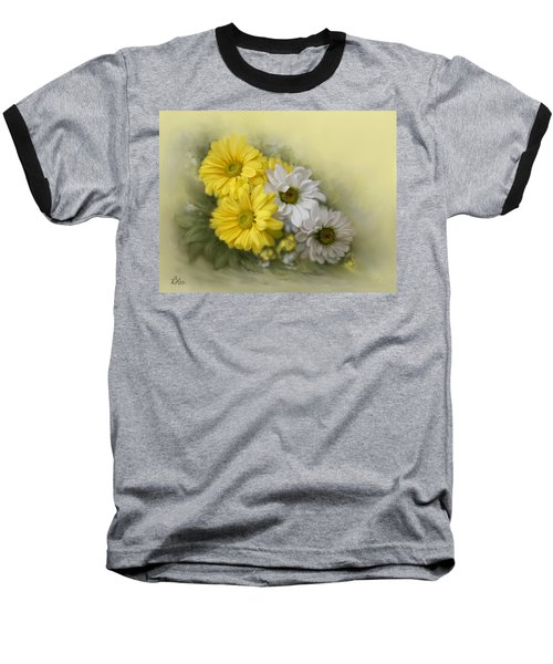 Baseball T-Shirt featuring the painting Daisy Spring Bouquet by Bonnie Willis