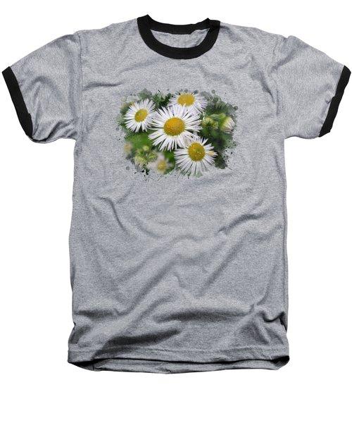 Daisy Watercolor Art Baseball T-Shirt