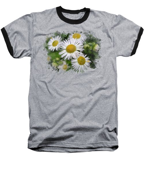 Daisy Watercolor Art Baseball T-Shirt