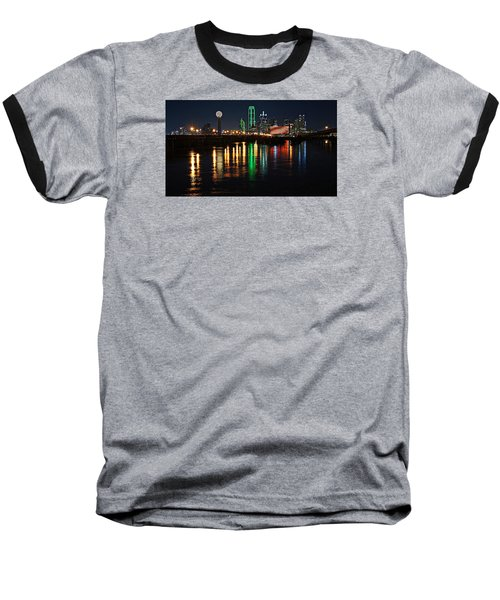 Dallas At Night Baseball T-Shirt by Kathy Churchman