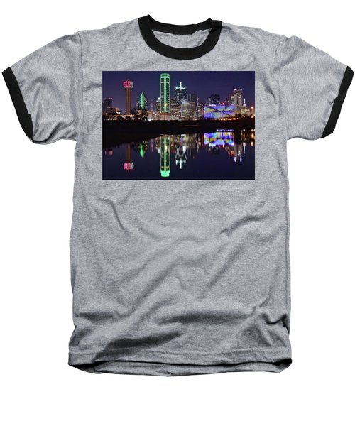 Dallas Reflecting At Night Baseball T-Shirt by Frozen in Time Fine Art Photography
