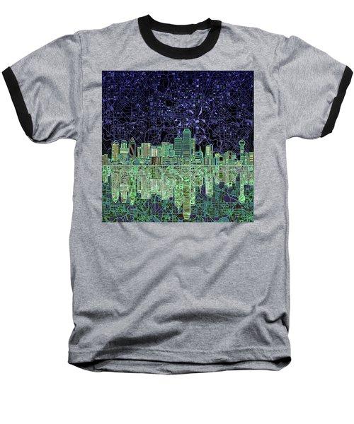 Dallas Skyline Abstract 4 Baseball T-Shirt