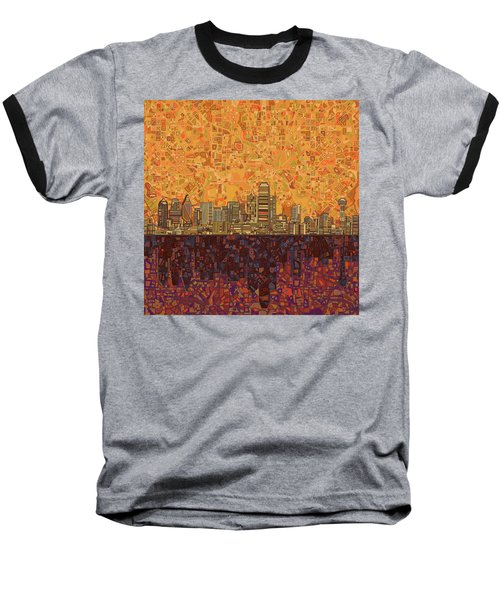 Dallas Skyline Abstract Baseball T-Shirt by Bekim Art