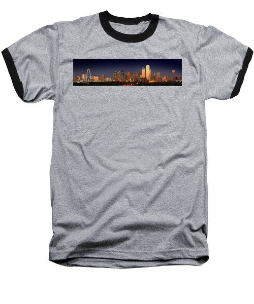 Dallas Skyline At Dusk  Baseball T-Shirt by Jon Holiday