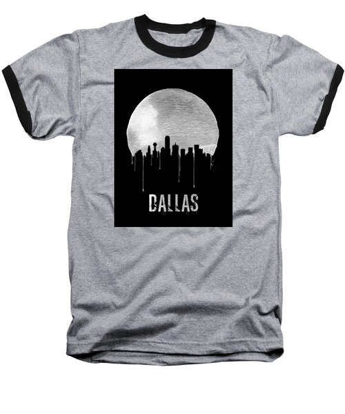 Dallas Skyline Black Baseball T-Shirt by Naxart Studio