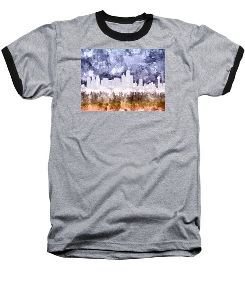 Dallas Skyline Brush Strokes 3 Baseball T-Shirt