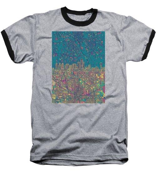 Dallas Skyline Map Green Baseball T-Shirt
