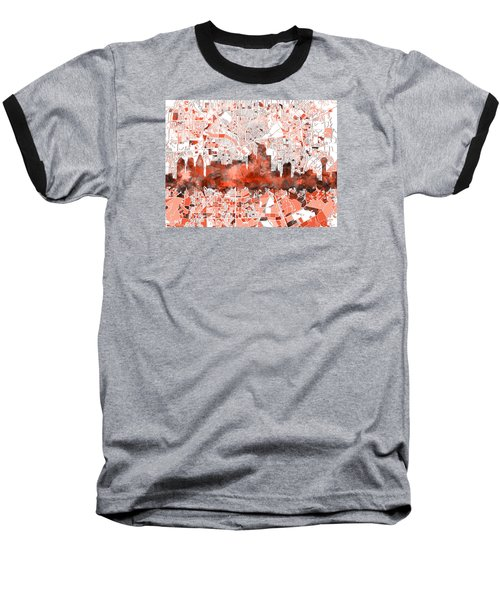 Dallas Skyline Map Red Baseball T-Shirt