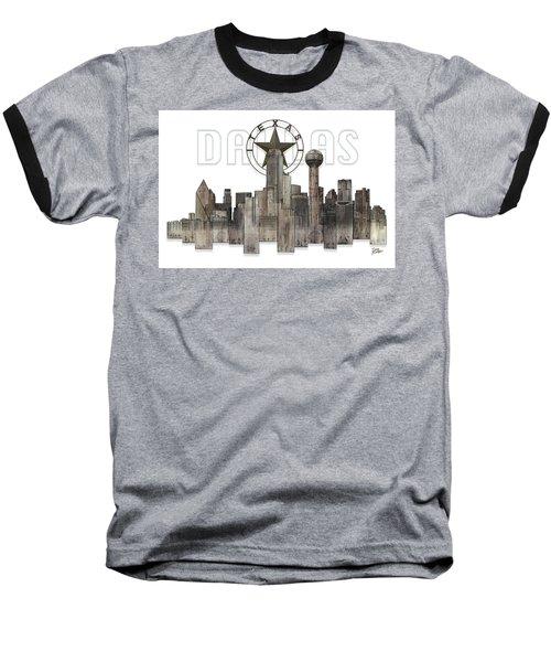 Baseball T-Shirt featuring the digital art Dallas Texas Skyline by Doug Kreuger