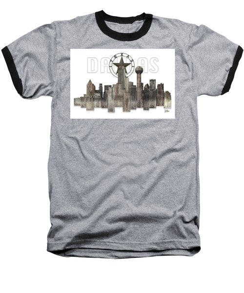 Dallas Texas Skyline Baseball T-Shirt