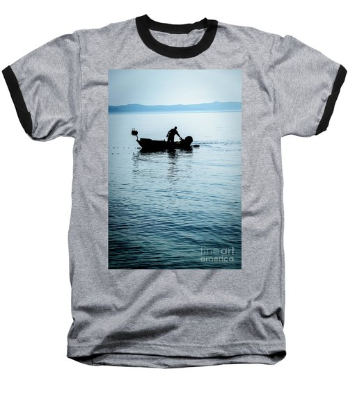 Dalmatian Coast Fisherman Silhouette, Croatia Baseball T-Shirt