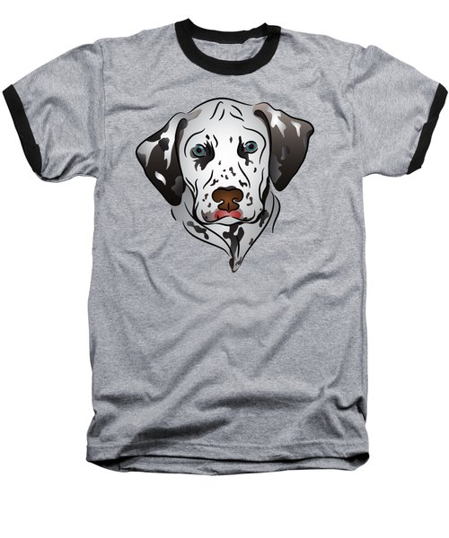 Dalmatian Portrait Baseball T-Shirt by MM Anderson