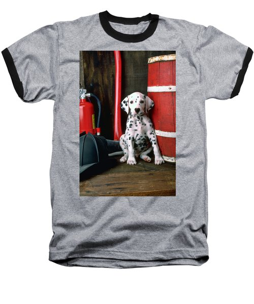 Dalmatian Puppy With Fireman's Helmet  Baseball T-Shirt