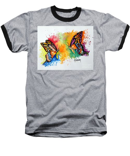 Baseball T-Shirt featuring the painting Dance Of The Butterflies by Maria Barry