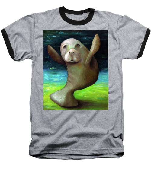 Dance Of The Manatee Baseball T-Shirt by Leah Saulnier The Painting Maniac