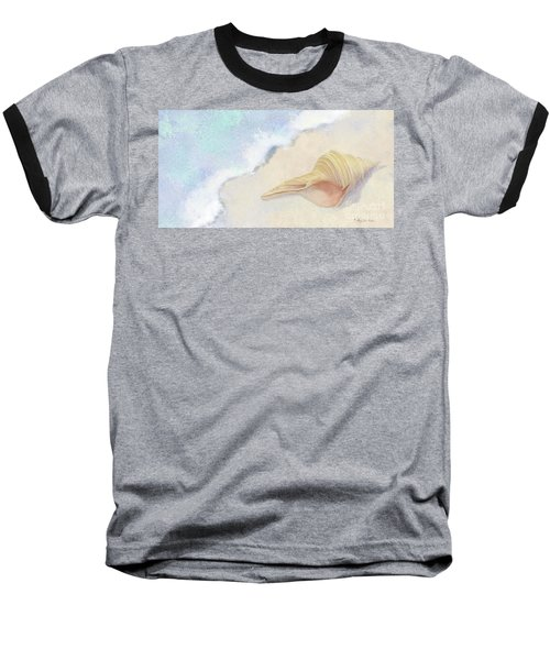 Baseball T-Shirt featuring the painting Dance Of The Sea - Australian Trumpet Shell Impressionstic by Audrey Jeanne Roberts