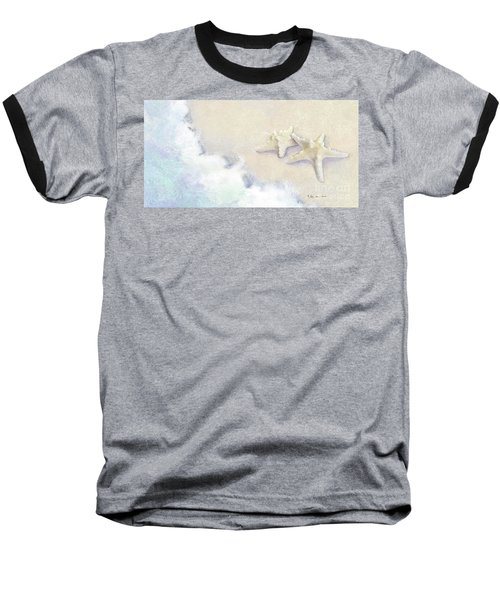 Baseball T-Shirt featuring the painting Dance Of The Sea - Knobby Starfish Impressionstic by Audrey Jeanne Roberts