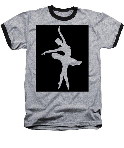 Dancing Ballerina White Silhouette Baseball T-Shirt by Irina Sztukowski