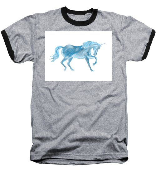 Baseball T-Shirt featuring the mixed media Dancing Blue Unicorn by Elizabeth Lock