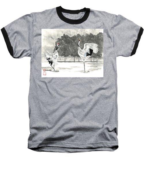Dancing Crane II Baseball T-Shirt