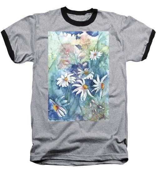Baseball T-Shirt featuring the painting Dancing Daisies by Renate Nadi Wesley