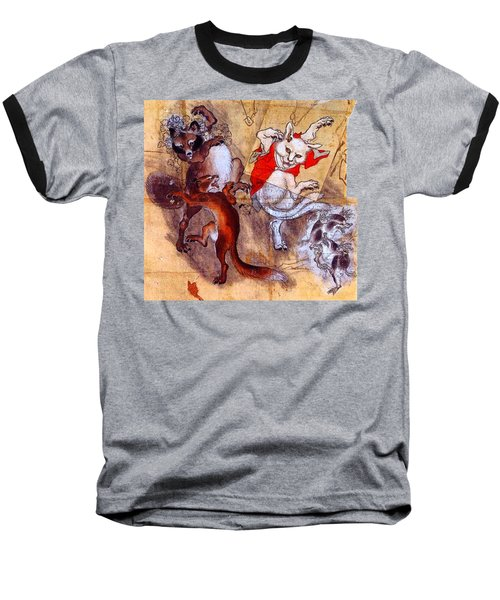 Japanese Meiji Period Dancing Feral Cat With Wild Animal Friends Baseball T-Shirt by Peter Gumaer Ogden Collection