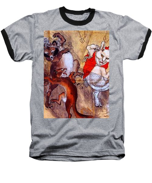 Japanese Meiji Period Dancing Feral Cat With Wild Animal Friends Baseball T-Shirt