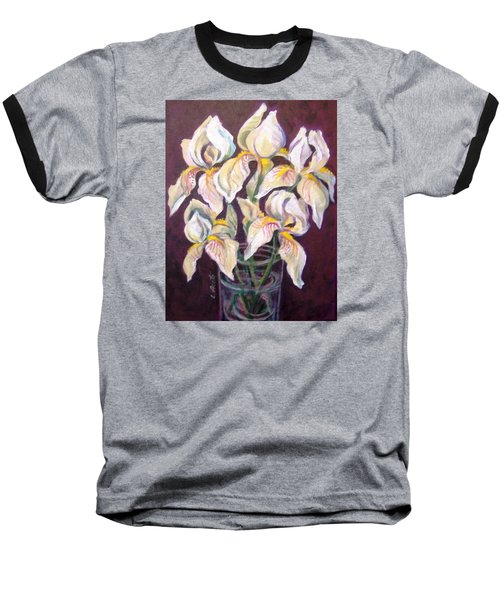 Baseball T-Shirt featuring the painting Dancing Iris by Laura Aceto