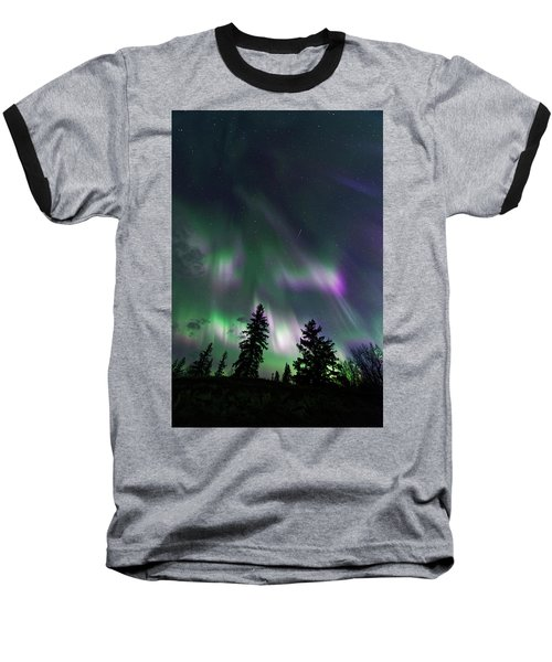 Dancing Lights Baseball T-Shirt by Dan Jurak