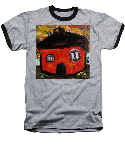 Baseball T-Shirt featuring the painting Dandelions By Red Barn By Mcw by Mary Carol Williams
