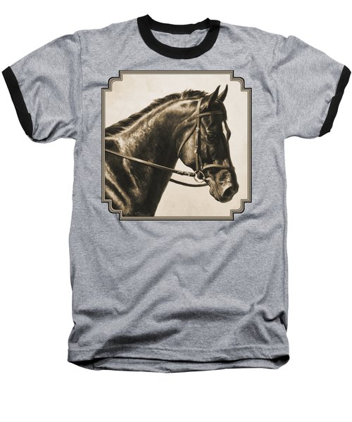 Dark Bay Dressage Horse Aged Photo Fx Baseball T-Shirt