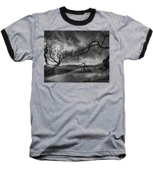 Baseball T-Shirt featuring the painting Dark Cemetary by James Christopher Hill